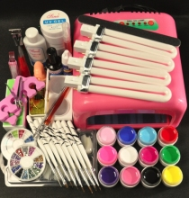 Pro 36W UV GEL Pink Lamp & 12 Color UV Gel Nail Art Tool Kits Manicure Set