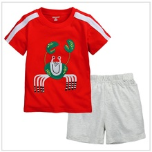 Embroidery Crab Boys T-Shirt Pants Suit Cute Fashion Children Outfits Kids Tee Shirts Tops Toddler Short Pants 1-6years