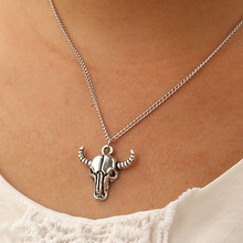 N937 Steampunk Pendant Men Bijoux Necklaces Totem Bison Buffalo Bull Head Skull Necklace Punk Fashion Jewelry Collares 2017 HOT