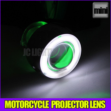 Hot sale! Mini headlight HID Bi-Xenon projector lens for motorcycle universal bulb,shroud,Green Angel eye Blue Devil eye