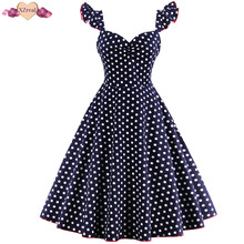 Buy Pin Polka Dot Evening Party Dress Women Summer Retro Rockabilly Dress Sexy Backless Tunic Swing Cotton Robe Z3D38 for $22.71 in AliExpress store