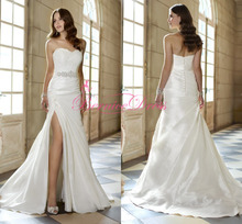 2014 Fashion White Silk Taffeta Lace Sweetheart Court Train Wedding Dress Vestidos De Novias Elegant Simple Beach Wedding Dress