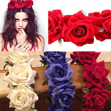 New Wedding Party Prom Festival Decor Princess Floral Wreath Headpiece Rose Flower Garland Floral Bride Headband Hairband