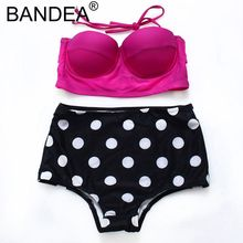 BANDEA 2017 Summer New Sexy Bikini Women Push Up Swimwear High Waist Soft Cup Solid And Dot Bikini Set Women Swimsuit Women(China)