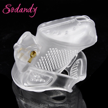 Buy SODANDY 2018 Male Chastity Devices Mens Cock Cage Plastic Penis Locking Restraints Penisring Chastity Belt 3 Cock Ring