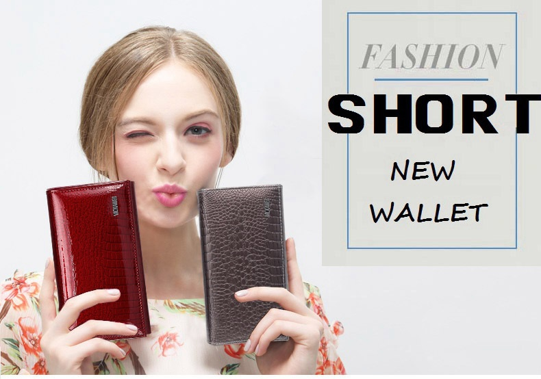 VICKAWEB Genuine Leather Small Wallet Women Wallets Alligator Short Purse Coins Hasp Girls Wallet Fashion Female Ladies Wallets-003