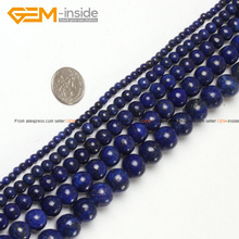 Gem-inside Dyed Color Round Smooth Lapis Lazuli Beads For Jewelry Making 2-20mm 15inches DIY Jewellery(China)