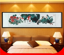 Large Long Scroll Painting by Numbers / Famous Flower Plants Gifts / Wall art home decor Handpainted(China)