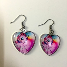 DIWEINI 2pcs My Little Pony Peach Glass Crystal Heart Pendant Earrings children Girls Gifts Birthday Party Wedding Party Favors(China)