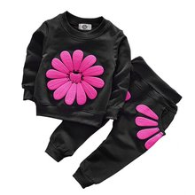 2pcs set spring autumn children clothing set Sweet baby girls sports suit sunflower Printed casual costume hoodies(China)
