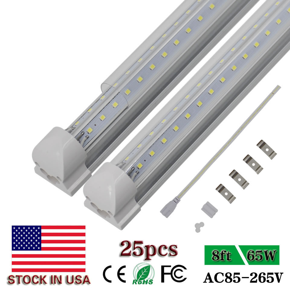 8ft Led Tube Lights Commercial Freeze 2.4m 2400mm Integrated T8 V-Shaped 8foot 65W Cooler Door Double Sides Glowing Lights 25pcs(China)