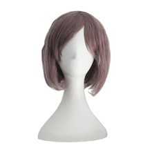 Lady Cosplay wig for Pink Purple color short little wavy curly hair wig