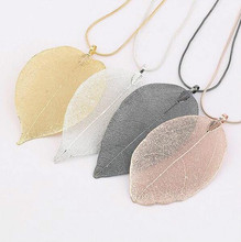 2017 Fashion Pink Black Gold Gray True Natural Real Leaves Leaf Pendant Necklace Long Sweater Snake Chain For Women Jewelry Gift(China)