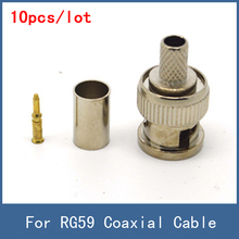 High Quality BNC Male 3-piece Crimp Connector Plug for RG59 Coaxial Cable , 10pcs/lot Cheap Price Wholesale , Free Shipping