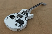 Best LP  custom Electric guitar, solid white,skull printing on body top,chrome parts,high grade.Real photo shows