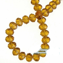 Glass Crystal Beads 8mm Charms Bracelets Necklaces Round Wheel Faceted DIY Shiny Lucency Brown Fashion Jewelry Components 2 sets(China)