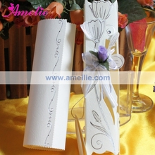 50Piece/Lot With Flower Ribbon Wedding Invitations Cheap Scroll Wedding Invitation Card With Free Shipping(China)