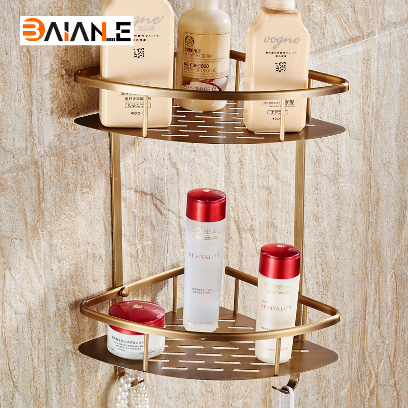 Free Shipping Antique Copper Double Wall Mount Corner Shower Shampoo Soap Cosmetic Storage Shelf Bathroom Shelves <br>