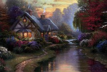 along the lighted path  by Thomas Kinkade oil painting poster fabric canvas wall poster print