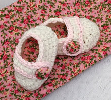 vintage rose crochet baby mary jane booties cream pink shoes hand made baby shower photo prop