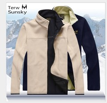 Free Shipping-New Hot sale Terwsunsky Men Spring/Autumn/winter Fleece Thin Outdoor Fleece Outerwear Stand Collar Jacket TR018(China)