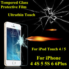 Ultrathin 0.26mm 2.5D Premium Tempered Glass For for iphone 4 4s 5 SE 5s 6 6plus ipod touch 4 5 Screen Protector Protective Film