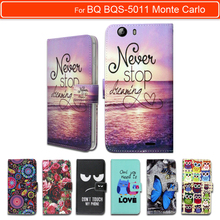 100% Special Luxury PU Leather Flip Cartoon wallet case Book case for BQ BQS-5011 Monte Carlo,gift