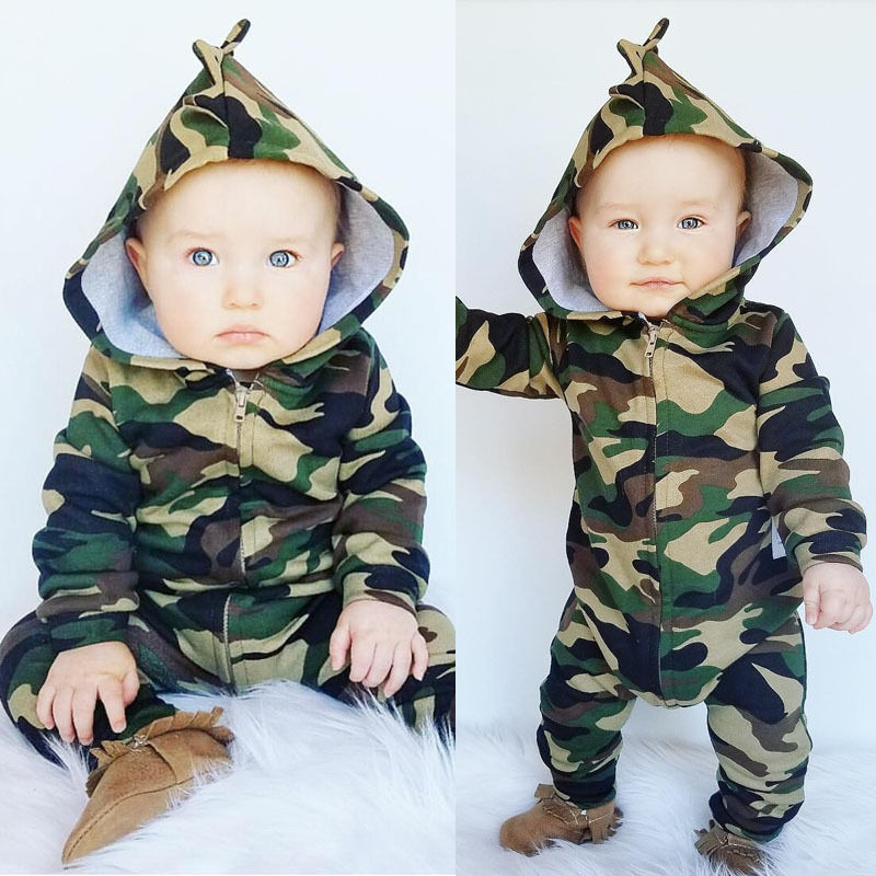 US Canis Newborn Kid Baby Boy Stitch 3D Ear Zipper Hooded Romper Jumpsuit Outfit