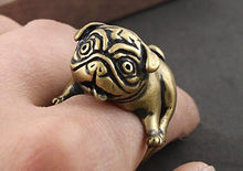 Kinitial 1PCS Antique Bronze Bulldog Pug Copper Ring Animal Unusual Unique Mens Womens Gift Brass Metal Knuckles Dogs Rings