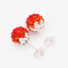 2016 hot new gift  silver 10mm ball jewelry rhinestone beads shamballa earrings for women