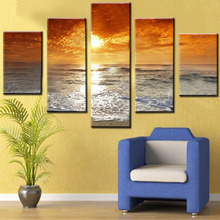 Figure 5 board pictures with golden sunrise contemporary household adornment picture on the canvas print news photo wall art can(China)