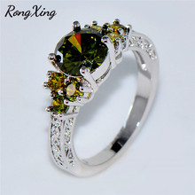 RongXing Shining Peridot Jewelry White Gold Filled Olive Green Round Birthstone Claw Ring Engagement Band Wedding Rings RW1132