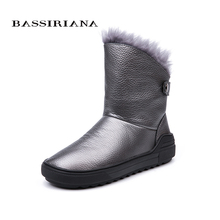 BASSIRIANA 2018 winter new natural 가죽 숙 녀 눈 boots 패션 warm women's boots color black gray free shipping(China)