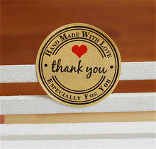 "120pcs/lot Round kraft paper ""thank you""red heart seal sticker cup gift box sticker baking package Label cake box decoration"
