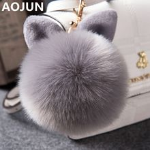 AOJUN Fake Fur Pom Pom Keychain Fluffy Bunny Rabbit Fur Keychain for Women Bag Charm Rabbit Ears Key Chain Car Key Ring Keychain