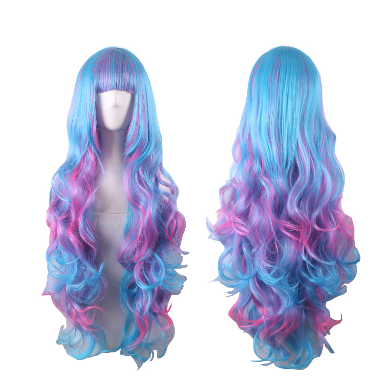 woman full wig heat resistant long wavy curly multicolor wigs cheap synthetic hair wigs ombre pastel rainbow wig cosplay women <br><br>Aliexpress