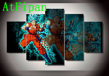 AtFipan Modular Wall Paintings 5P Dragon Ball Animated Cartoon Characters Modern Oil Painting on Canvas Pictures For Living Room(China)