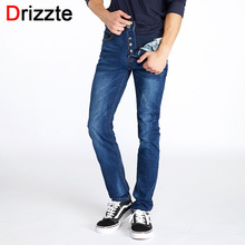 Drizzte Button Fly Classic Jeans Casusal Blue Slim Fit Stretch Denim Jeans Size for Tall Men Brand Mens' Jeans Original Pants(China)