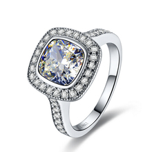 3 carat cushion cut NSCD synthetic diamond Engagement wedding ring for women 925 silver bridal Jewelry (BB)