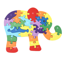 OCDAY Children Kids Letter Number Elephant Shape Puzzle Toy Creative Interesting Wooden Puzzle Toys Educational Learning New