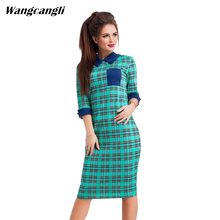 Wangcangli Autumn and winter 2017 Europe and America fashion lapel trend check print of the buttock seven-sleeve dress size S-XL(China)