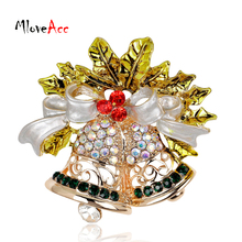 MloveAcc Happy New Year Christmas Gift  Rhinestone Bell Brooch Christmas Brooches for Female Women Scarf Clip Collar Hijab Pin