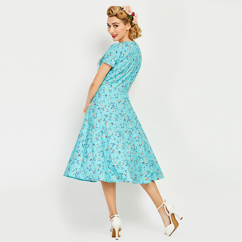 05c36f74db9 Sisjuly Vintage 1950s Mid Calf Turquoise Women Print Dress Short Sleeve  European Summer Party Dress Rockabilly Retro Dresses. 4 5 9. 8 6 7