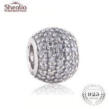 SHEALIA Clear Pave Lights Charms 925 Sterling Silver High Quality CZ Pave Ball Beads Fit European Style Brand Logo Bracelets