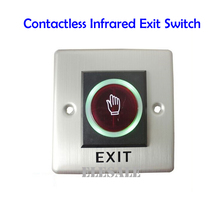 Infrared Exit Button 86x86mm No Touch Contactless Door Release Unlock Switch LED Light For Access Control System Wholesale