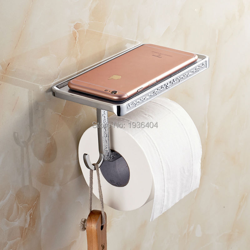 New Arrival Free Shipping Carving Toilet Paper Holder Chrome Phone Rack Wall Mounted Paper Holder with Hook PH218<br><br>Aliexpress