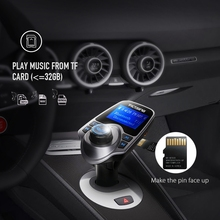 VicTsing Wireless Adapter Bluetooth FM Radio Music Transmitter + Phone Charger Car Kit w/ Display Support TF Card USB Car Audio(China)
