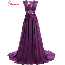 Elegant Evening Dresses Long 2017 Sexy Backless V-Neck Floor Length Chiffon with Top Lace Robe De Soiree kaftan