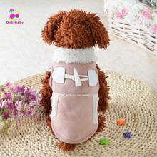 Dogbaby Super Warm Winter Pet Dog Coat Motorcycle Jacket Clothes For Puppy Poodle Solid Pink Lamb Cashmere Hoodies Clothing SG34(China)