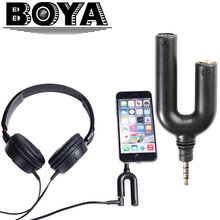 BOYA BY-AUM3 3.5mm TRRS Microphone with 3-position 3.5mm Headset Splitter Adapter for iPhone 7 6 6s 5 5s 4 4s iPad iPod Touch(China)